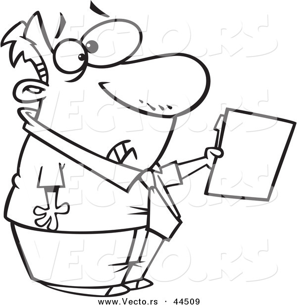 Vector of a Scared Cartoon Man Holding out a File - Coloring Page Outline