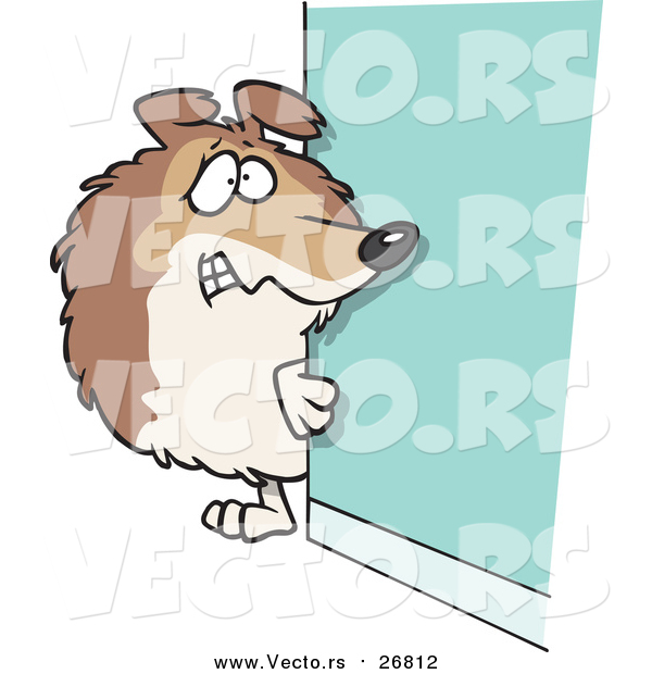 Vector of a Scared Collie Dog Hiding Behind a Wall - Cartoon Style