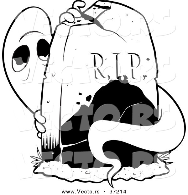 Vector of a Scared Ghost Hiding Behind a Tombstone - Black and White Line Art