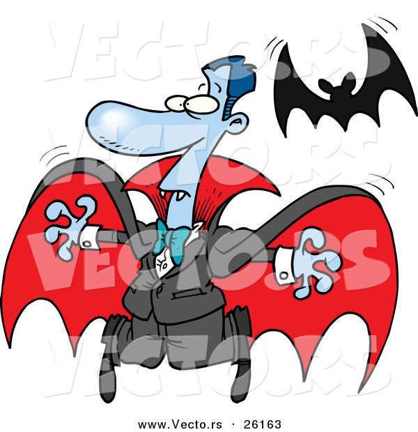 Vector of a Scared Halloween Cartoon Vampire Flying Away from a Real Bat
