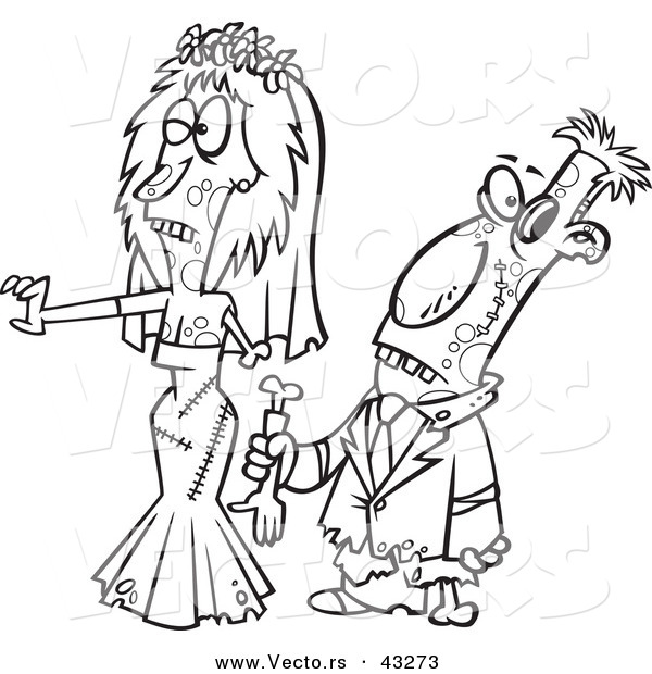 Vector of a Scary Cartoon Zombie Bride and Groom Walking Together - Coloring Page Outline