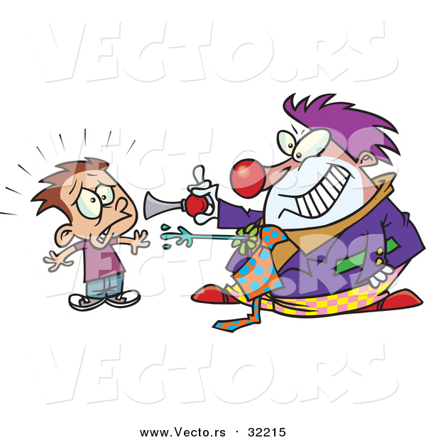 Vector of a Scary Clown Frightening a Boy - Cartoon Style
