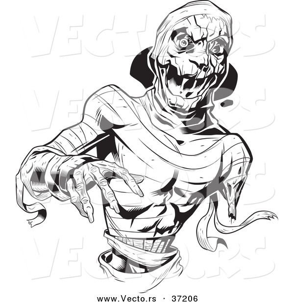 Vector of a Scary Mummy Reaching Forward - Black and White Line Art