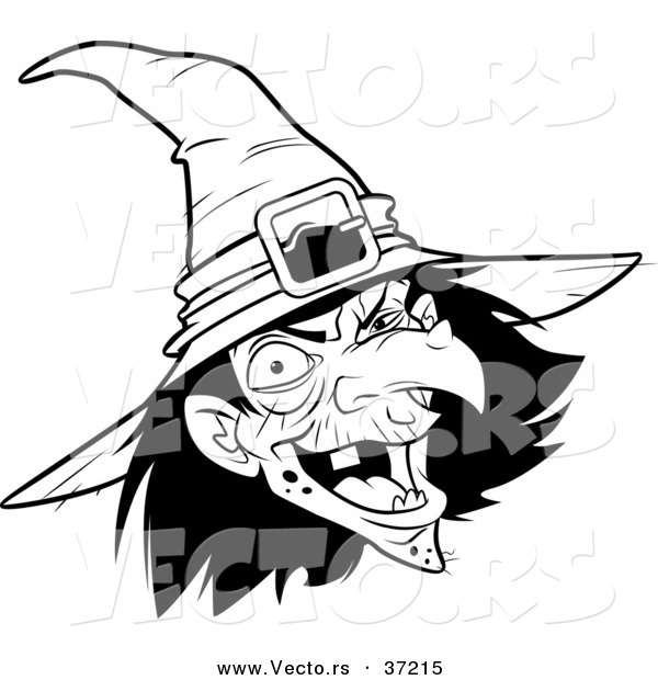 Vector of a Scary Witch Laughing - Black and White Line Art