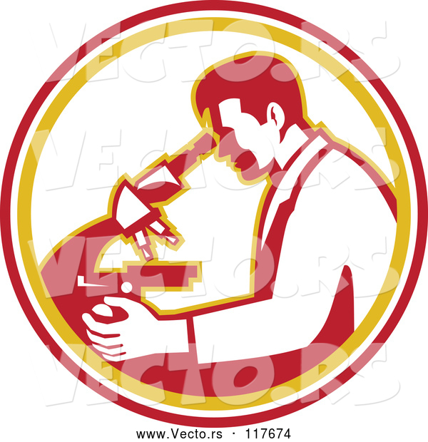 Vector of a Scientist Guy Using a Microscope in a White Orange and Red Circle