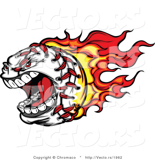 Vector of a Screaming Fast Cartoon Baseball Mascot with Red Hot Flames Trailing Behind