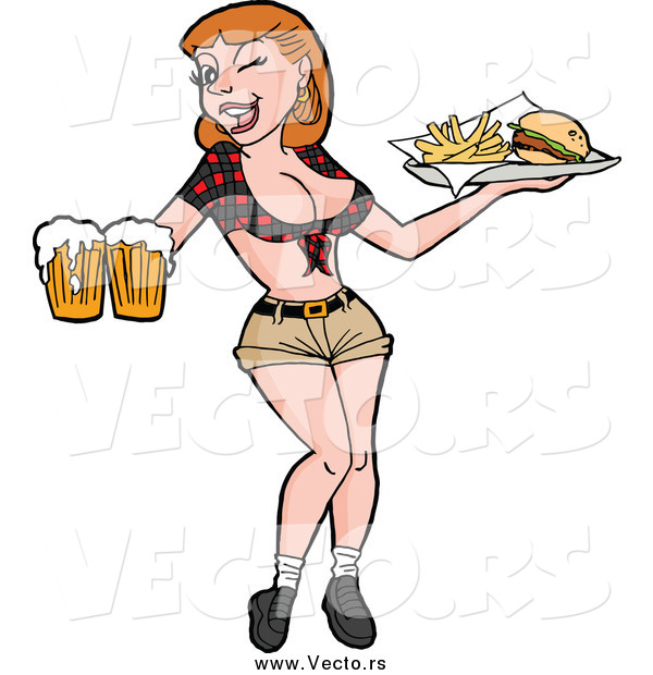 Vector of a Sexy Breastaurant Waitress Winking and Holding Beer and Fries