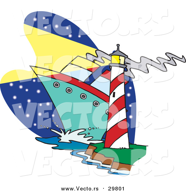 Vector of a Ship Passing Beside a Light House - Cartoon Style