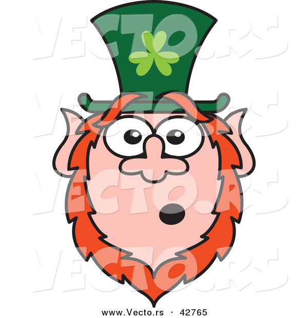 Vector of a Shocked St. Paddy's Day Cartoon Leprechaun