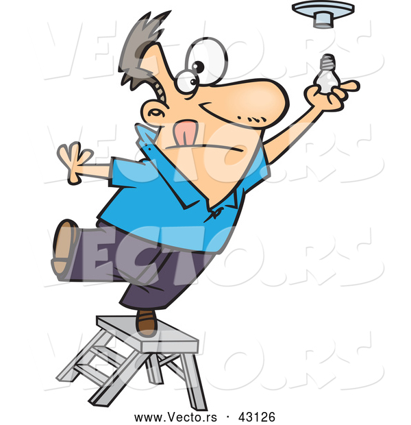 Vector of a Short Cartoon Man Standing on a Ladder While Trying to Install a Light Bulb