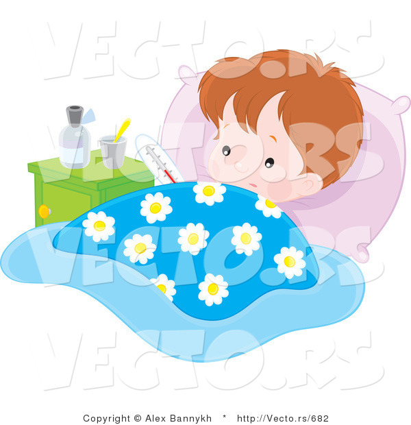 Vector of a Sick Baby Boy Resting in Bed
