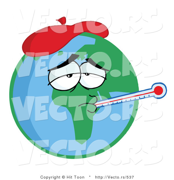 Vector of a Sick Cartoon Earth Wearing Ice Pack While Checking Temperature with a Thermometer
