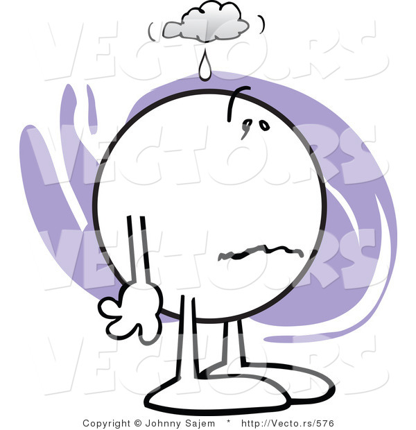 Vector of a Sick Cartoon Man Feeling Under the Weather