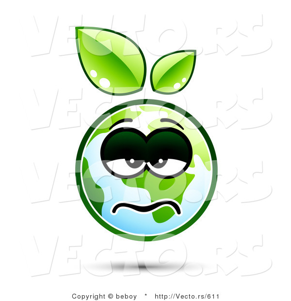 : Vector of a Sick Earth Cartoon with Green Leaves Sprouting from Head