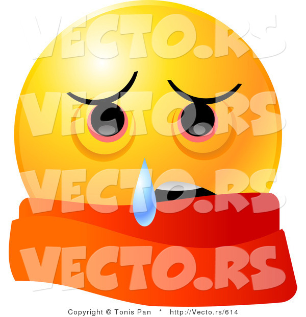 : Vector of a Sick Emoticon Wearing a Red Scarf and Crying