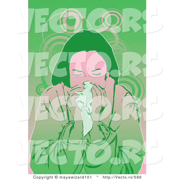 Vector of a Sick Girl Blowing Her Nose into a Tissue