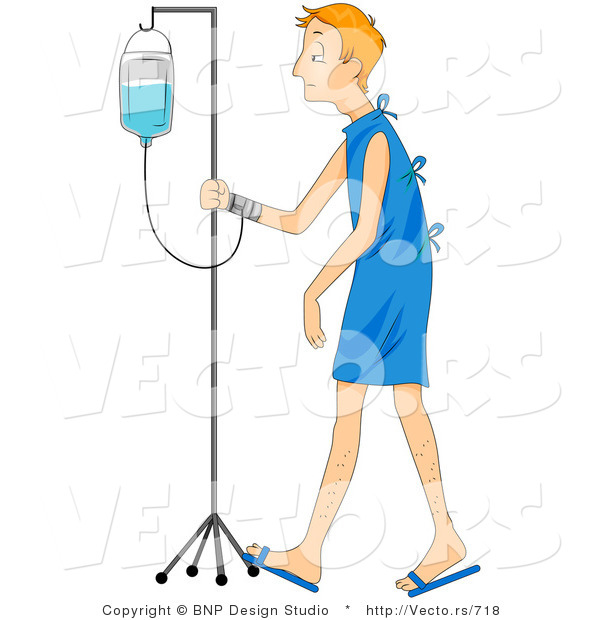 Vector of a Sick Young Man Walking with IV in a Hospital