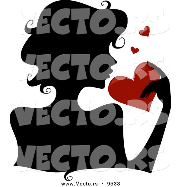 Vector of a Silhouetted Girl Holding a Red Love Heart