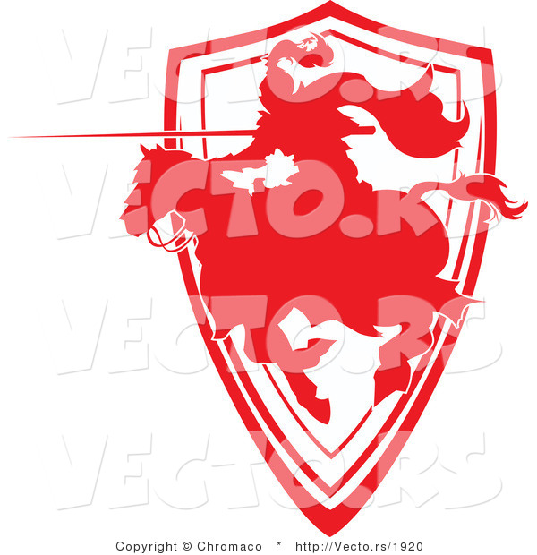 Vector of a Silhouetted Red Knight Charging with Lance While Jousting on Horse