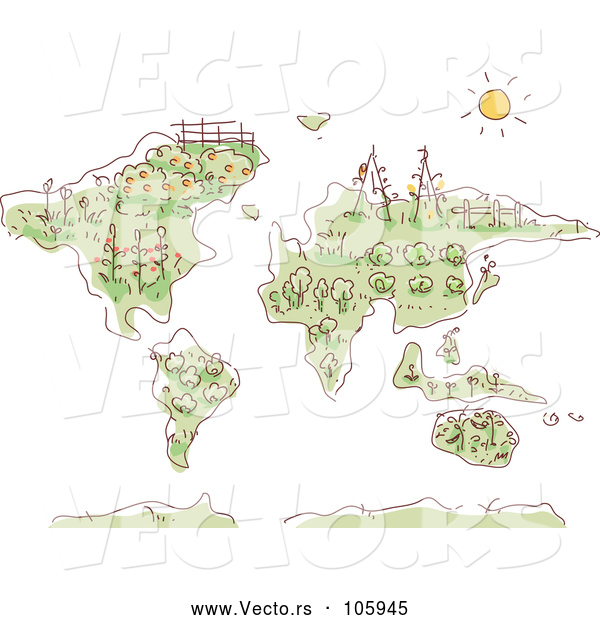 Vector of a Sketched Map with Plants and Gardens