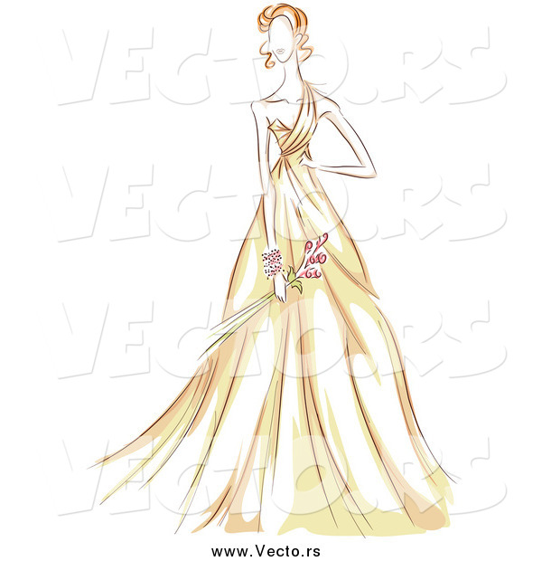 Vector of a Sketched Woman in a Beautiful Yellow Gown