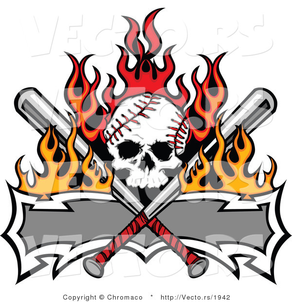 Vector of a Skull Shaped Baseball with Crossed Bats and a Blank Banner
