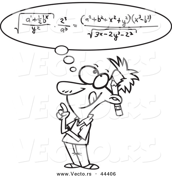 Vector of a Smart Cartoon Man Figuring a Math Equation in His Head - Coloring Page Outline