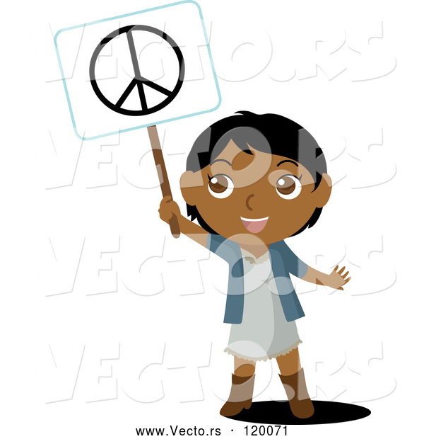 Vector of a Smiling Black Indian Kid Holding up a Peace Sign