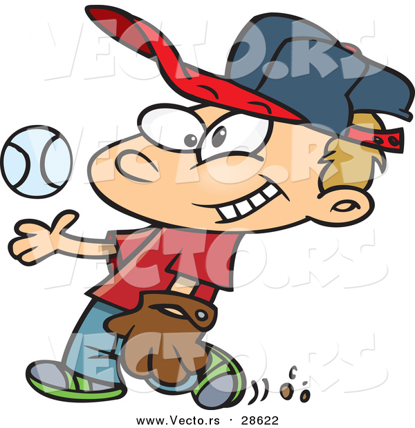 : Vector of a Smiling Boy Tossing Baseball up While Walking Forward - Cartoon Style