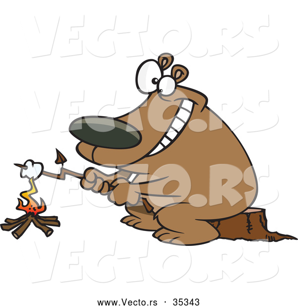 Vector of a Smiling Cartoon Bear Roasting a Marshmallow over a Campfire