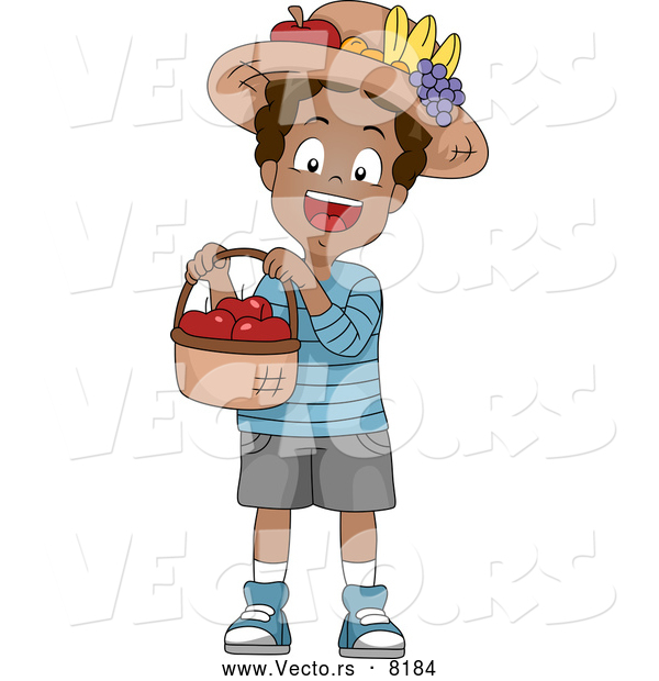 Vector of a Smiling Cartoon Black School Boy Holding a Basket Full of Red Apples
