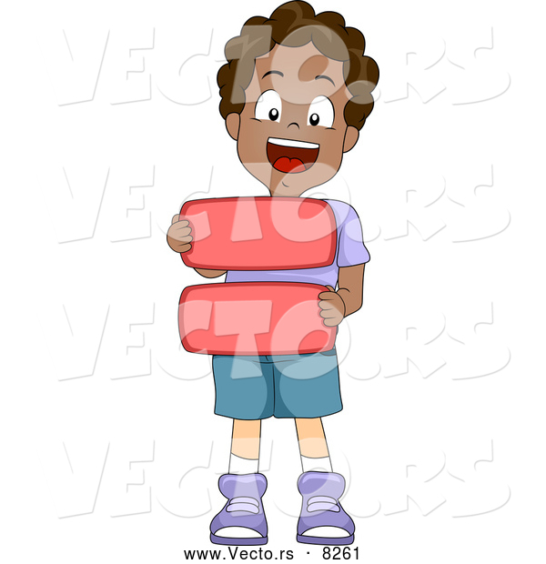 Vector of a Smiling Cartoon Black School Boy Holding an Equals Math Symbol