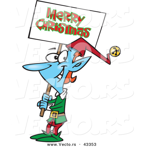 Vector of a Smiling Cartoon Blue Elf Carrying a Merry Christmas Sign