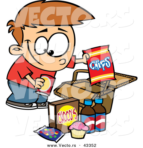Vector of a Smiling Cartoon Boy Packing Junk Food in a Picnic Basket