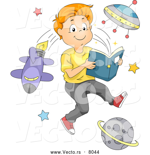 Vector of a Smiling Cartoon Boy Reading an Outer Space Book