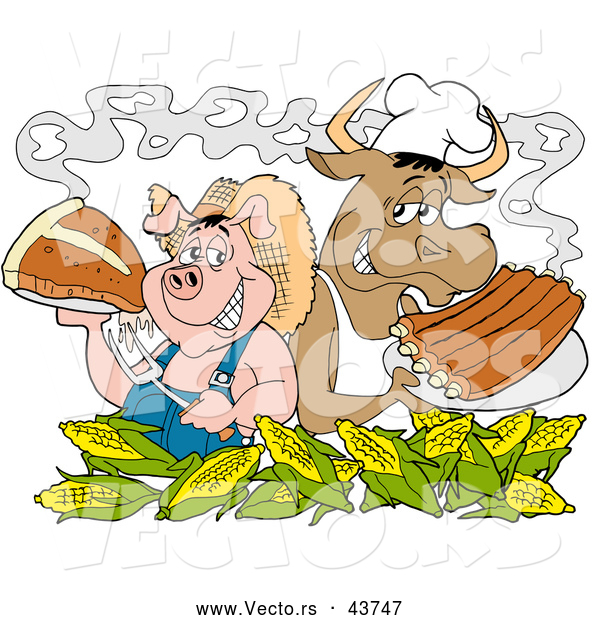 Vector of a Smiling Cartoon Chef Pig and Cow with Corn, Steak and BBQ Ribs