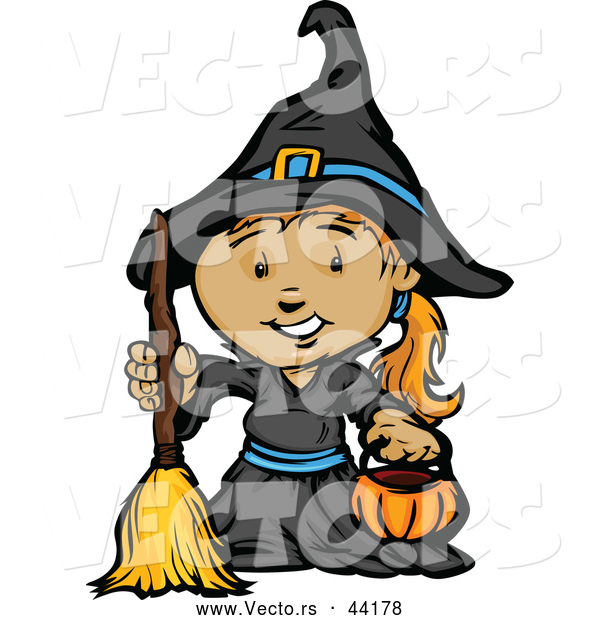 Vector of a Smiling Cartoon Girl Witch Holding a Pumpkin Container and Broom