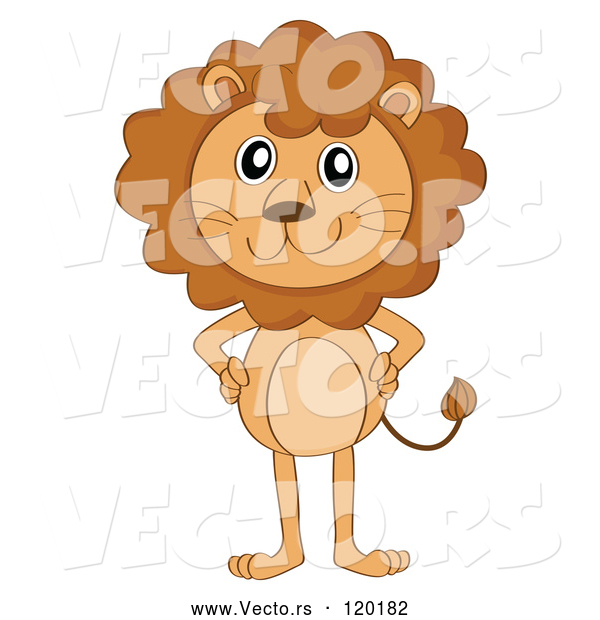 Vector of a Smiling Cartoon Lion Standing with Hands on Hips