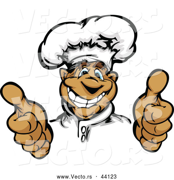 Vector of a Smiling Cartoon Male Chef Mascot Hand Gesturing with Two Thumbs up