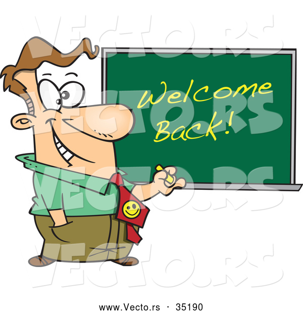 Vector of a Smiling Cartoon Male Teacher Writing 'Welcome Back!' on a Chalkboard