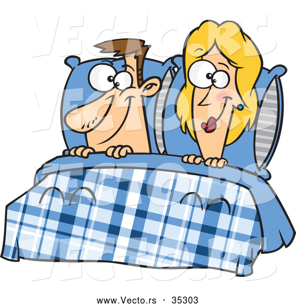 Vector of a Smiling Cartoon Man and Woman Laying in Bed