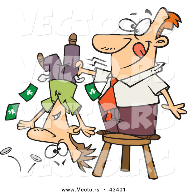 Vector of a Smiling Cartoon Man Standing on a Stool and Shaking Money Our of a Guy's Pockets