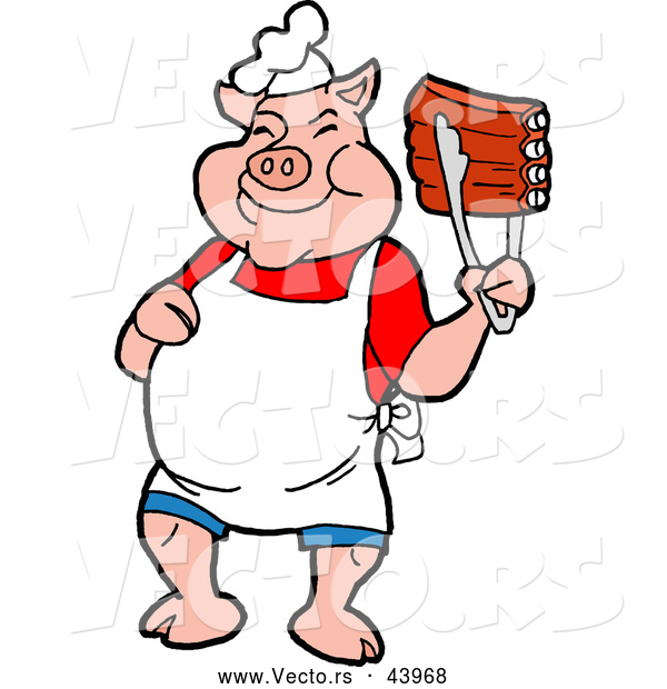 Vector of a Smiling Cartoon Pig Chef Holding up Tasty BBQ Ribs with Tongs