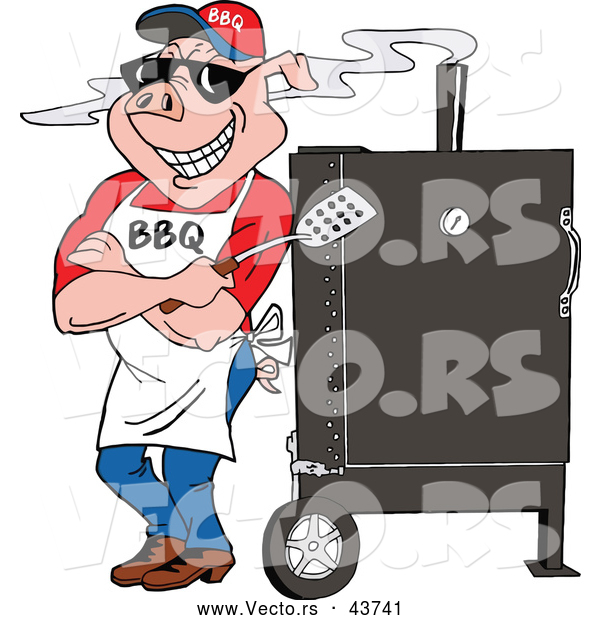 Vector of a Smiling Cartoon Pig Standing Against a BBQ Meat Smoker