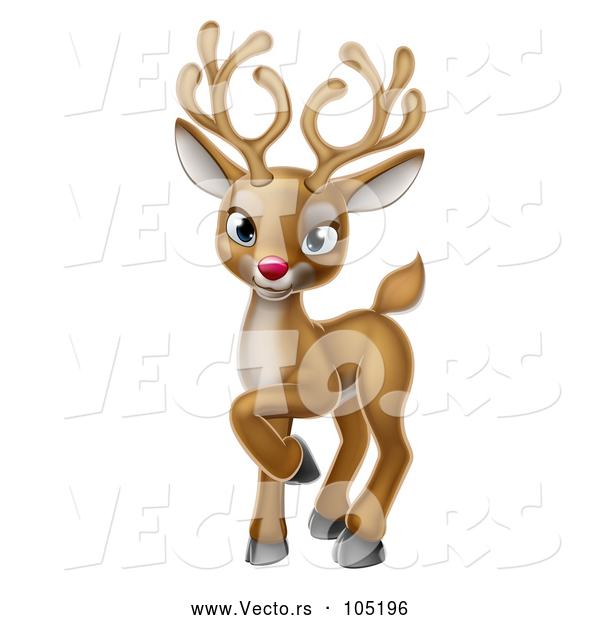 Vector of a Smiling Cartoon Red Nosed Christmas Reindeer