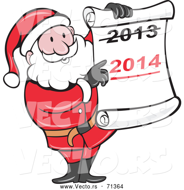 Vector of a Smiling Cartoon Santa Holding a 2014 Scroll