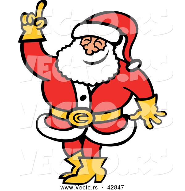 : Vector of a Smiling Cartoon Santa Raising a Finger While Testing the Air Temp and Wind Direction