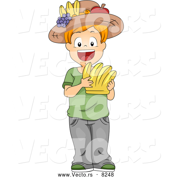 Vector of a Smiling Cartoon School Boy Holding a Bananas Flash Card and Wearing a Fruit Hat