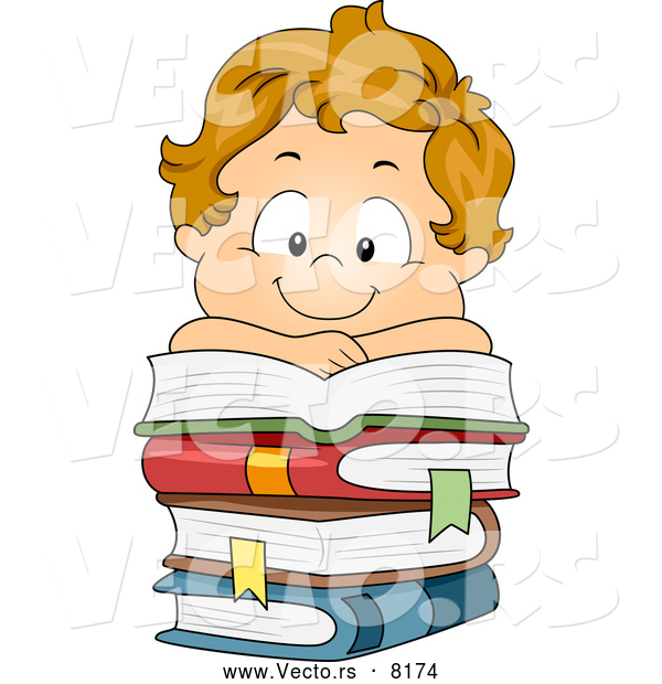 Vector of a Smiling Cartoon School Boy over a Pile of Stacked Books