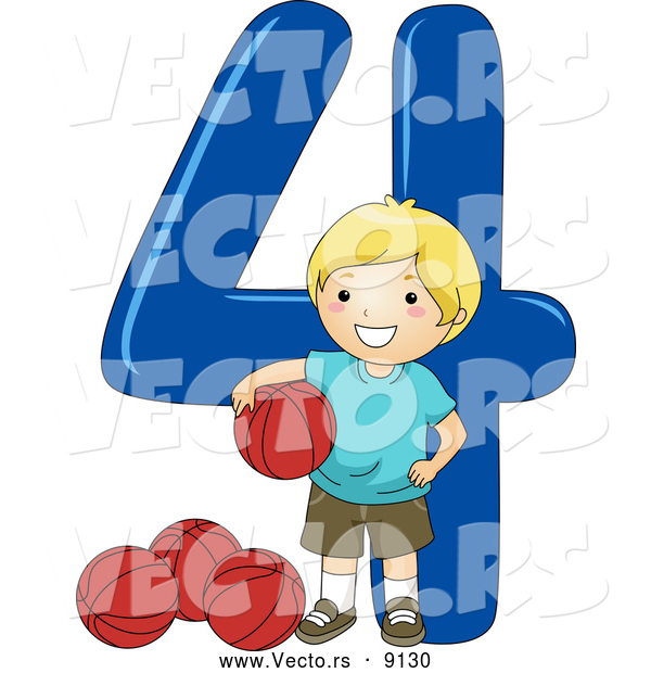 Vector of a Smiling Cartoon School Boy Standing with 4 Basketballs Beside the Number Four